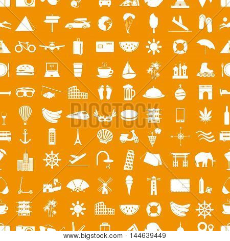 Travel And Holiday Big Set Of Vector Icons Seamless Pattern Eps10