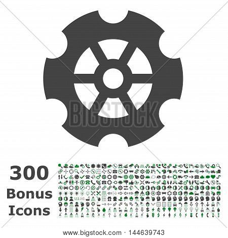 Gear icon with 300 bonus icons. Glyph illustration style is flat iconic bicolor symbols, green and gray colors, white background.