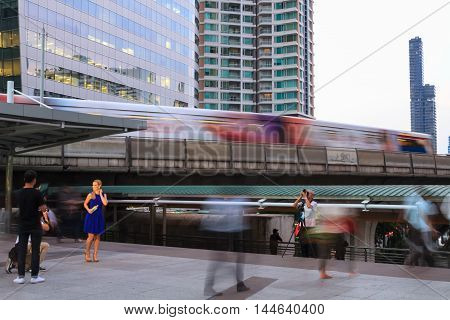BANGKOK THAILAND - DECEMBER 21: Bangkok's city life with BTS skytrain on December 21 2015 in Bangkok Thailand.