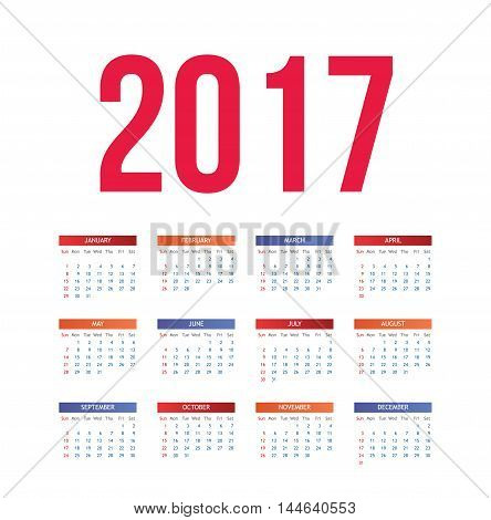Nice and simple colorful 2017 calendar, vector illustration isolated on white background. Fresh and clean calendar for the year 2017, week starts from sunday
