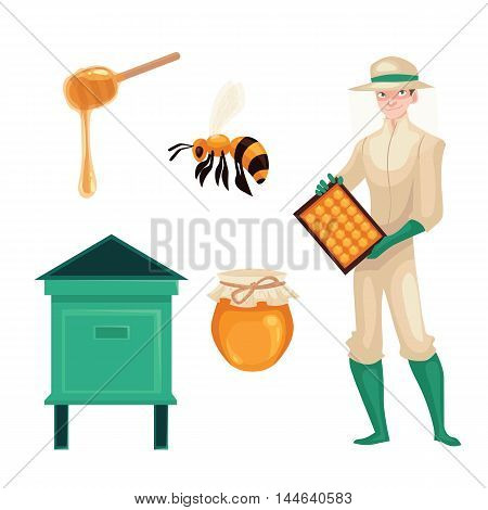 Set of beekeeper in protective gear holding honeycomb, bee, honey jar and dipper, cartoon style vector illustration isolated on white background. Apiarist in protective suit working at the apiary