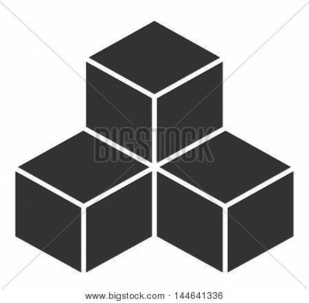 Black cubes. Vector illustration on white background