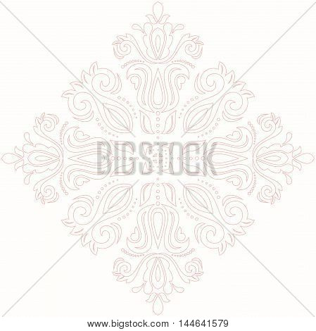 Elegant vector pink square ornament in the style of barogue. Abstract traditional pattern with oriental elements