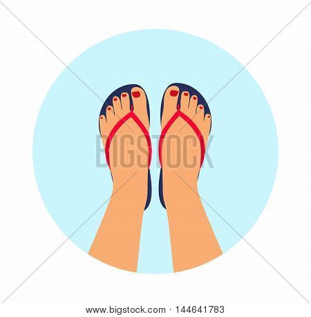 Vector illustration female feet with a pedicure in the summer flip-flops.