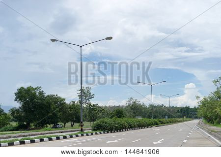 Street lighting poles with a blue sky background is beautiful