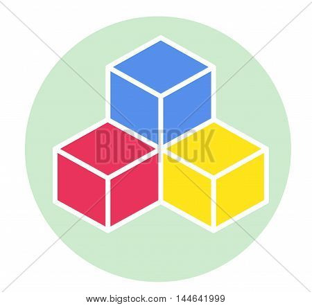 Color cubes icon on green background. Modern flat pictogram.
