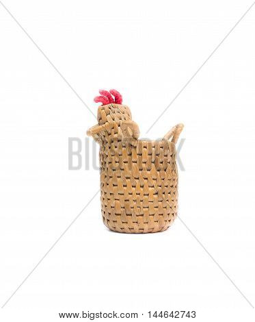bamboo basket bamboo knit image a chicken on white background.