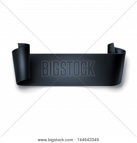 Black Detailed Curved Ribbon Isolated On White Background. Curved Paper Banner.