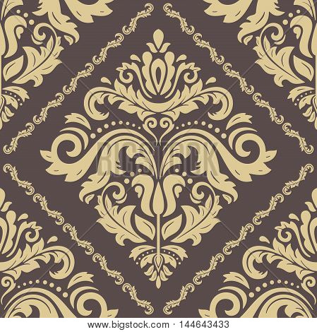Damask vector classic brown and golden pattern. Seamless abstract background with repeating elements
