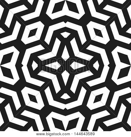 Seamless vector black and white pattern for your designs and backgrpounds. Modern geometric ornament