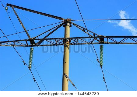 reinforced concrete high-voltage transmission tower with suspended metal structures for mounting wires