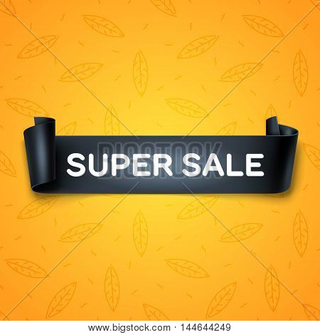 Super Sale inscription on black detailed curved ribbon isolated on yellow leaves background. Curved paper banner.