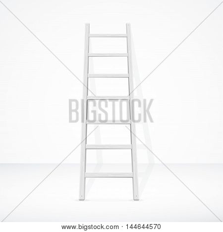 Realistic White Stairs and Wall. Working Equipment. Vector illustration
