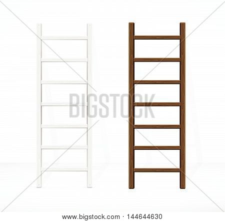 Realistic ladders and Wall. Different Types. Vector illustration