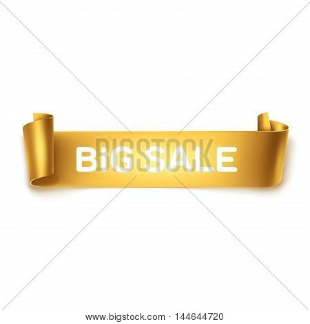 Big sale inscription on gold detailed curved ribbon isolated on white background. Curved paper banner.