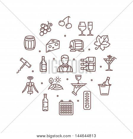 Wine Making Drink Round Design Template Thin Line Icon Set Isolated on White Background. Vector illustration