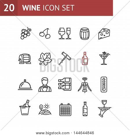 Wine Making Drink Outline Icon Set. Vector illustration