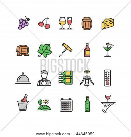 Wine Making Drink Outline Color Icon Set. Vector illustration
