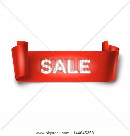 Sale inscription on red detailed curved ribbon isolated on white background. Curved paper banner.