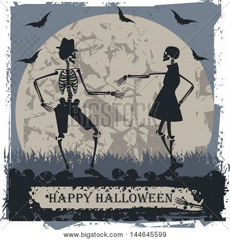 Halloween greeting card with couple skeleton Vector image can be used for Halloween greeting card ,posters ,banners and invitation.