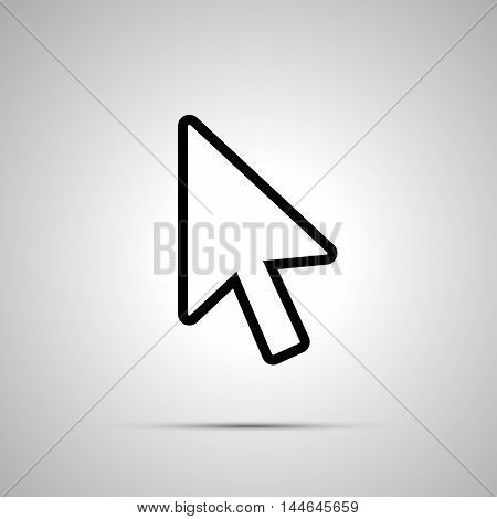 White computer arrow cursor simple icon with shadow