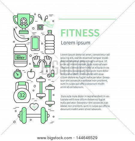 Fitness and sport thin line banner with text place. Modern flat linear vector icons.
