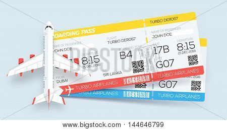 Airline boarding pass tickets. Booking tickets. Two tickets on aircraft. Web template