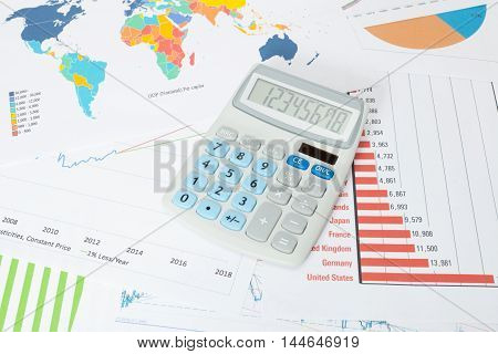 Studio Shot Of A Data Charts With Calculator Series