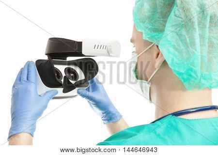 Doctor With Vr Glasses On White Background