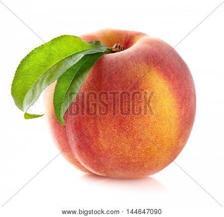 Fresh peach with leaf