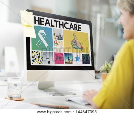 Ribbon Cure Healthcare Treatment Browsing Concept