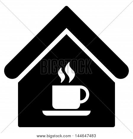 Cafe House icon. Vector style is flat iconic symbol, black color, white background.