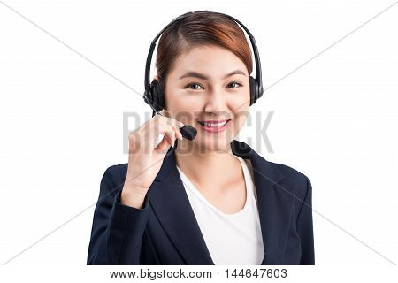 Attractive Young Business Asian Woman Using a Telephone Headset Calling Clients Over White Background