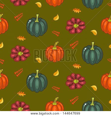 Autumn harvest seamless vector pattern. Acorn pumpkins and faded leaves repeat green background.