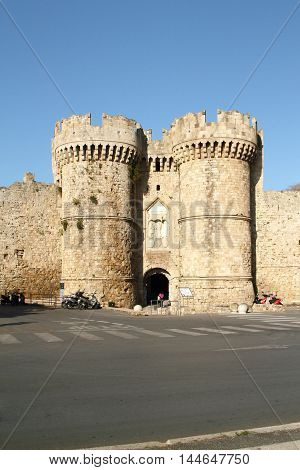 Sea gate of fortress Rhodes. View from side of the harbor. Greece