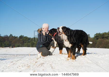 owner with big Berner Sennenhunden in snow landscape