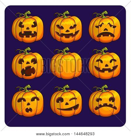 Halloween scary pumpkins set of different characters. Vector Illustration.