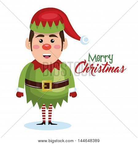 elf christmas character icon vector illustration design