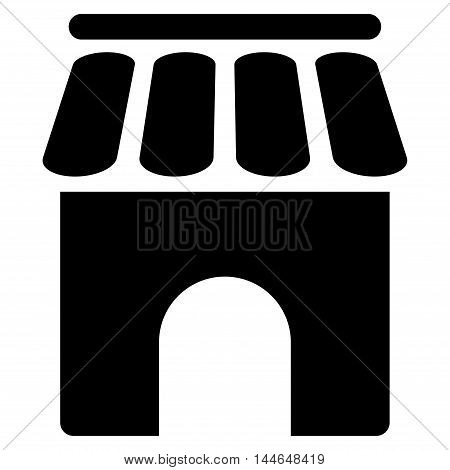 Shop Building icon. Vector style is flat iconic symbol, black color, white background.