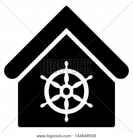 Steering Wheel House icon. Vector style is flat iconic symbol, black color, white background.