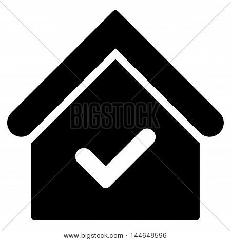 Valid House icon. Vector style is flat iconic symbol, black color, white background.