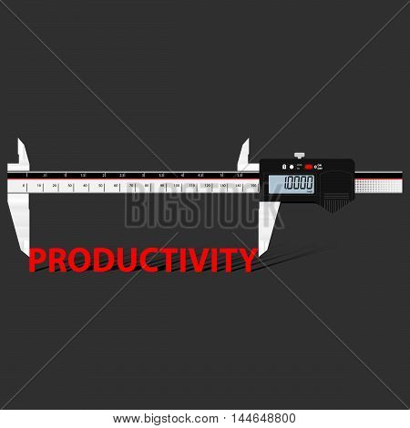 Abstract business background with digital slide gauge and title Productivity. Vector.