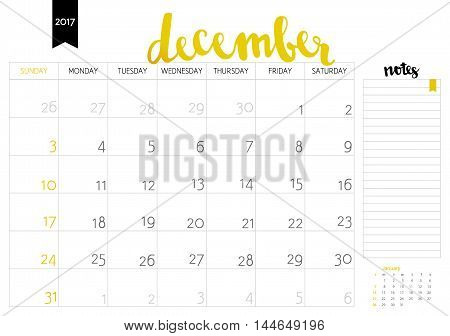 Vector Simple Planning Calendar December 2017 With A Place For Notes. Weeks Start On Sunday. Calligr