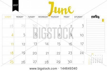 Vector Simple Planning Calendar June 2017 With A Place For Notes. Weeks Start On Sunday. Calligraphy