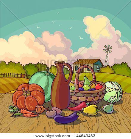 Harvesting autumn symbols fruits and vegetables, basket on farm background. Vector Illustration.