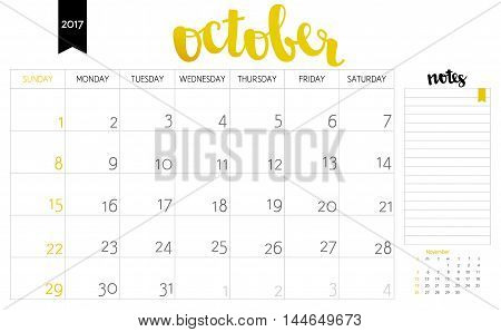 Vector Simple Planning Calendar October 2017 With A Place For Notes. Weeks Start On Sunday. Calligra