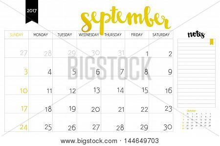 Vector Simple Planning Calendar September 2017 With A Place For Notes. Weeks Start On Sunday. Callig