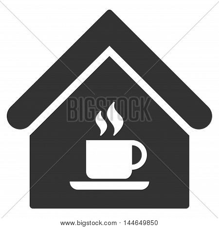 Cafe House icon. Glyph style is flat iconic symbol, gray color, white background.