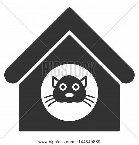 Cat House icon. Glyph style is flat iconic symbol, gray color, white background.