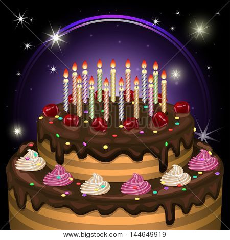 Birthday cake with candles and decoration. Vector illustration